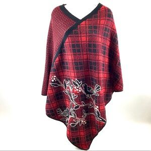 Green 3 Cotton Sweater Knit Pullover Poncho OSFM